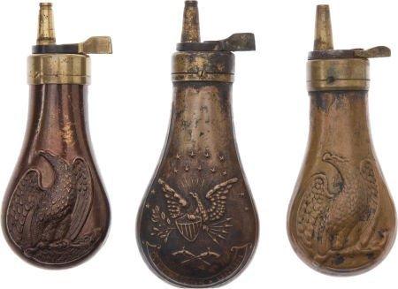 50109: Lot of 3 Assorted Colt Pistol Flasks.