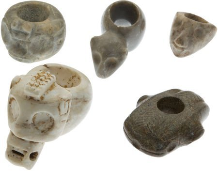 50016: Lot of Five Assorted Stone Mace Heads.