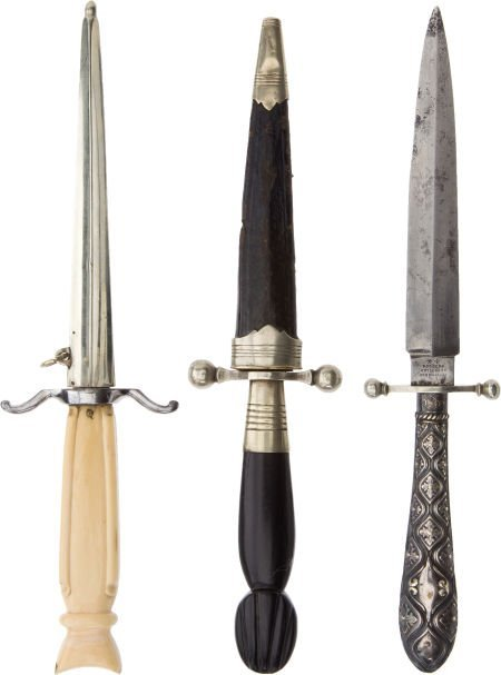 50114: Lot of Three 19th Century Dirks.
