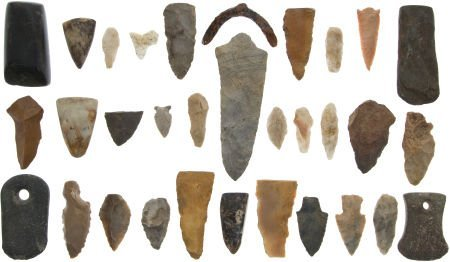 50017: Lot of  Assorted Ethnographic Stone Points and T