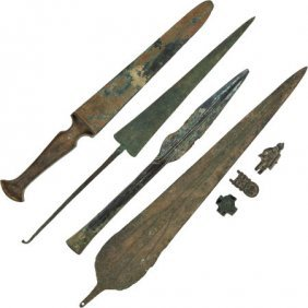 Lot Of Seven Assorted Bronze Age Weapons And Art
