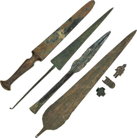 50025: Lot of Seven Assorted Bronze Age Weapons and Art