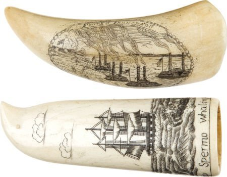 50031: A Scrimshawed Whale's Tooth and a Scrimshawed Bo