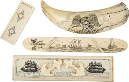 50033: Lot of Four Assorted Contemporary Scrimshawed It