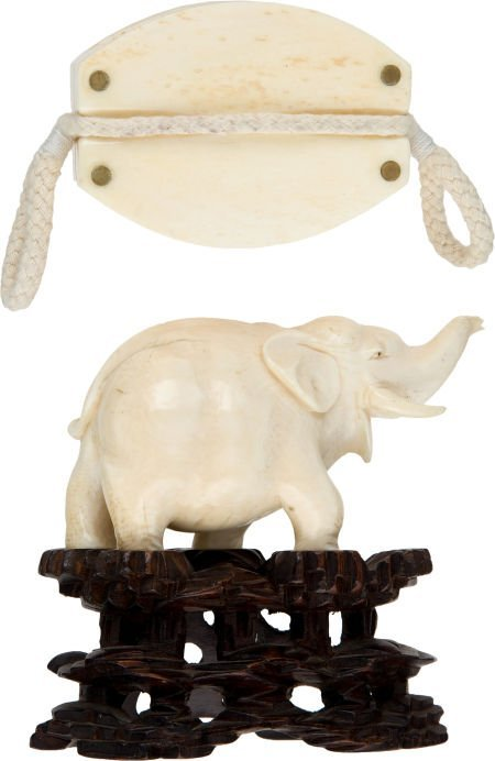 50034: Lot of Two Contemporary Ivory Collectibles.