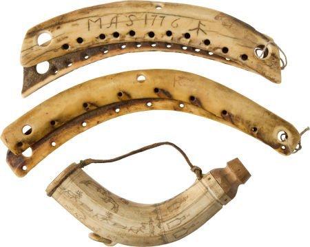50043: Lot of Three Antique Carved Antler or Bone Artif