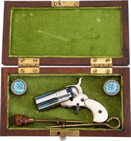 50746: Cased Miniature Pepperbox Revolver by L.H. Smith