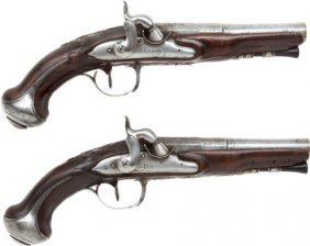 30004: Matched Pair of French Percussion Pistols Made b