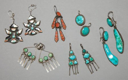 50012: SIX PAIRS OF SOUTHWEST SILVER AND STONE EARRINGS