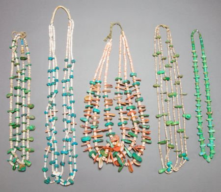 50015: FIVE PUEBLO TURQUOISE AND SHELL NECKLACES c. 192