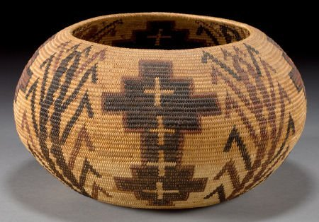 50128: A MONO LAKE PAIUTE POLYCHROME COILED BASKET c. 1