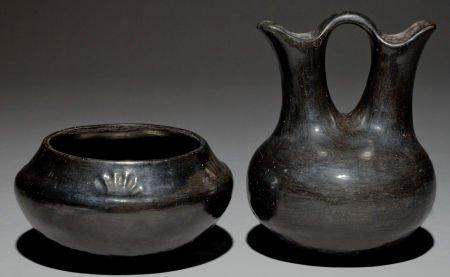 50051: TWO SANTA CLARA BLACKWARE VESSELS c. 1920 and 19