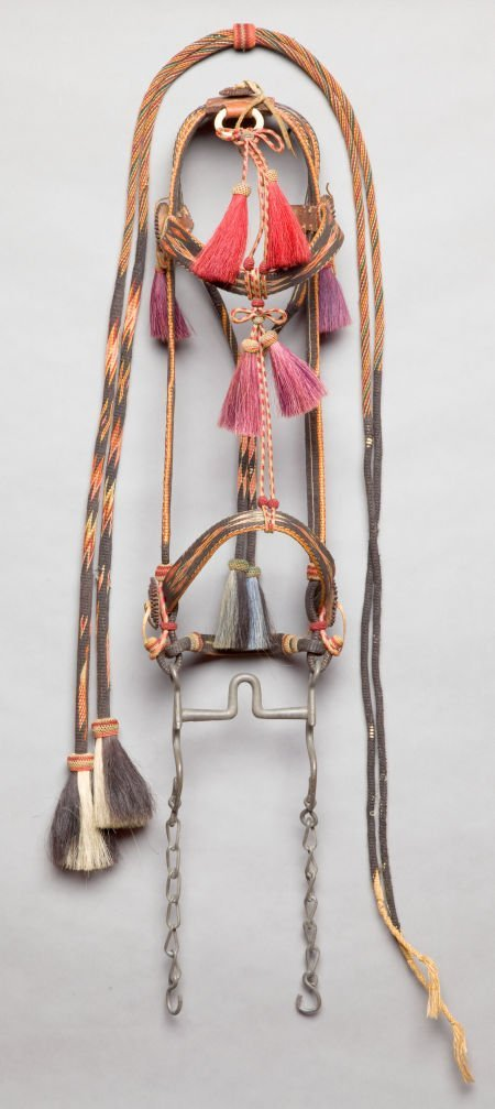 50143: A PLAINS BRAIDED HORSEHAIR BRIDLE AND REINS c. 1
