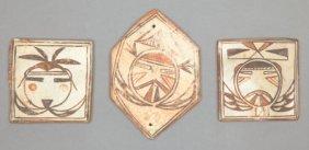 THREE HOPI POLYCHROME TILES C. 1890