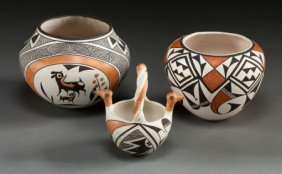 THREE ACOMA POLYCHROME VESSELS Lucy M. Lewis And