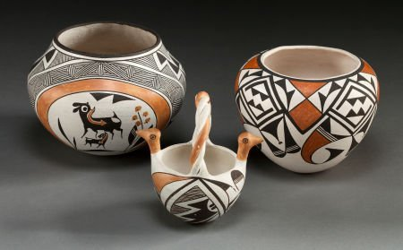 50068: THREE ACOMA POLYCHROME VESSELS Lucy M. Lewis and