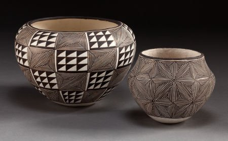 50069: TWO ACOMA BLACK-ON-WHITE JARS Lucy M. Lewis c. 1