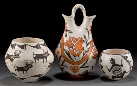 50070: THREE ACOMA POTTERY VESSELS Dolores Lewis, Lucy