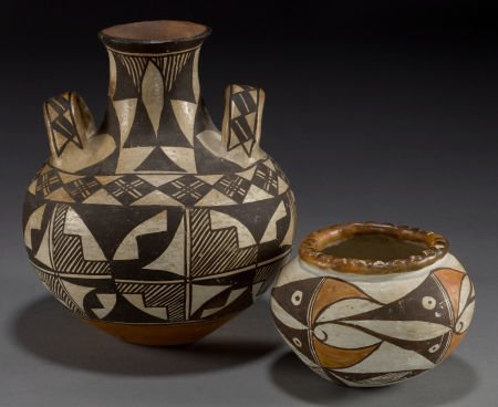 50075: TWO ACOMA POLYCHROME JARS c. 1890 and 1930