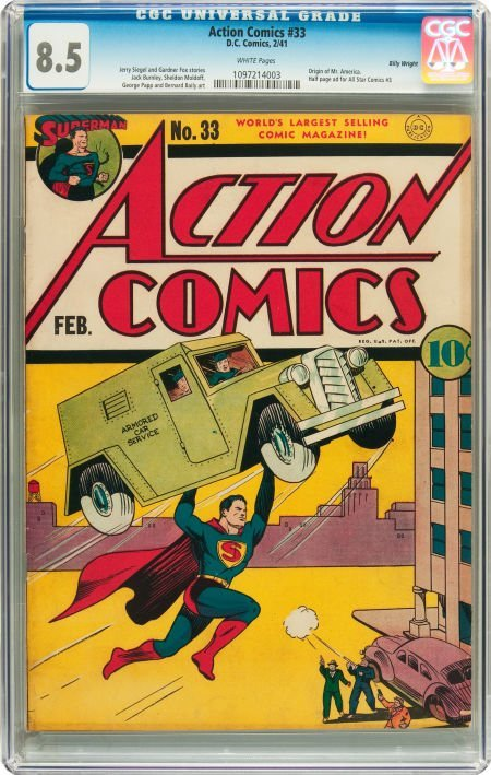 91004: Action Comics #33 Billy Wright pedigree (DC, 194