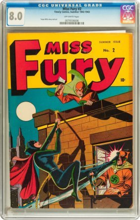 Miss Fury #2 (Timely, 1943) CGC VF 8.0 Off-white