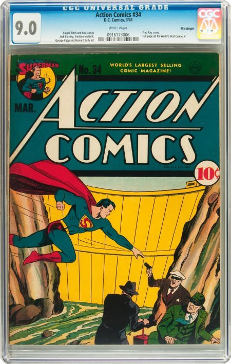 91005: Action Comics #34 Billy Wright pedigree (DC, 194