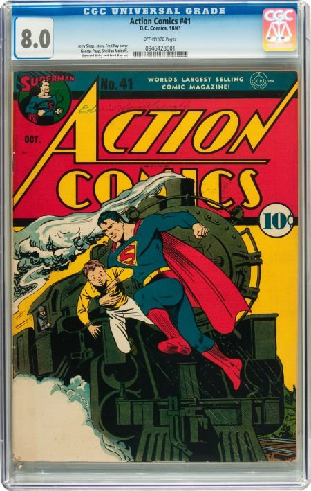 91010: Action Comics #41 (DC, 1941) CGC VF 8.0 Off-whit