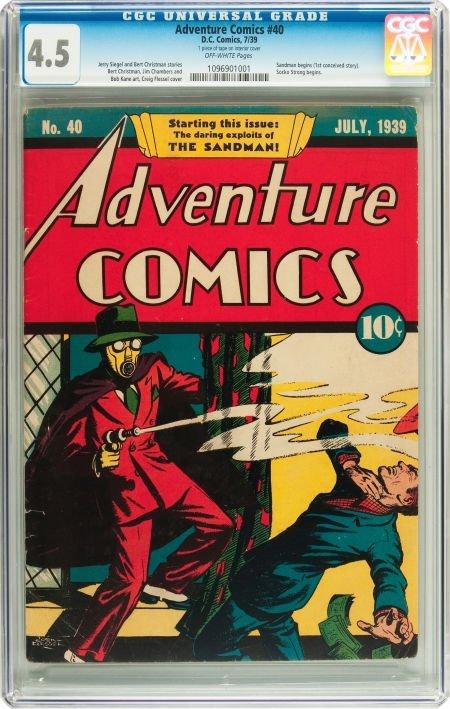 91016: Adventure Comics #40 (DC, 1939) CGC VG+ 4.5 Off-