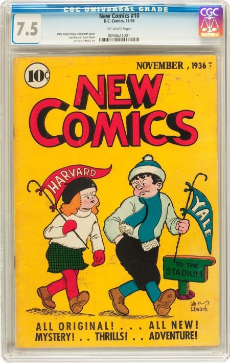 91183: New Comics #10 (DC, 1936) CGC VF- 7.5 Off-white