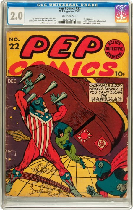 91184: Pep Comics #22 (MLJ, 1941) CGC GD 2.0 Off-white