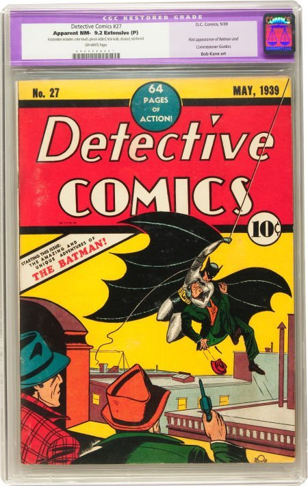 91107: Detective Comics #27 (DC, 1939) CGC Apparent NM-