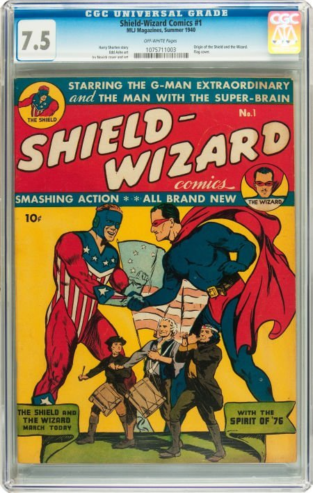 91195: Shield-Wizard Comics #1 (MLJ, 1940) CGC VF- 7.5
