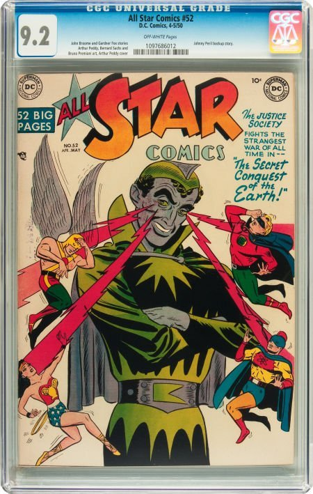 91049: All Star Comics #52 (DC, 1950) CGC NM- 9.2 Off-w