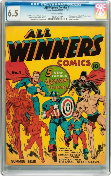91052: All Winners Comics #1 (Timely, 1941) CGC FN+ 6.5