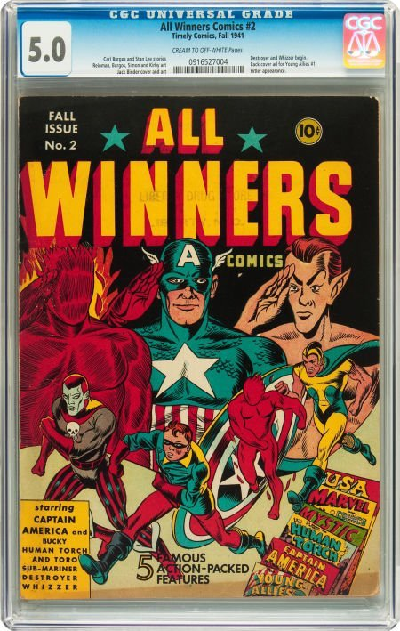 91053: All Winners Comics #2 (Timely, 1941) CGC VG/FN 5