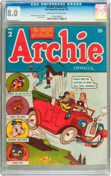 91054: Archie Comics #2 (Archie, 1943) CGC VF 8.0 Off-w