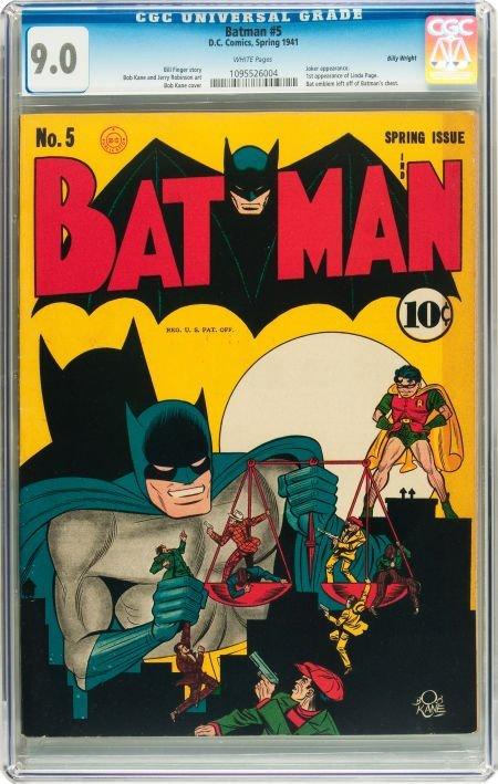 91057: Batman #5 Billy Wright pedigree (DC, 1941) CGC V