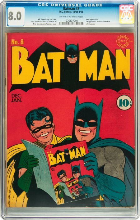 91059: Batman #8 (DC, 1942) CGC VF 8.0 Off-white to whi