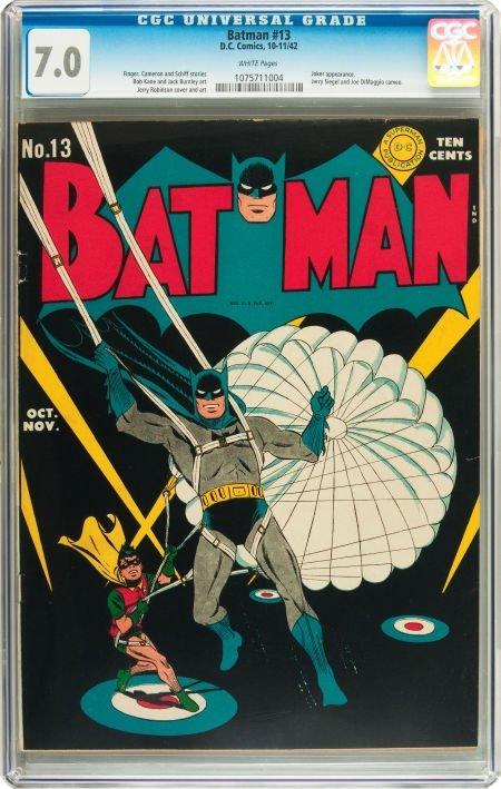 91060: Batman #13 (DC, 1942) CGC FN/VF 7.0 White pages.