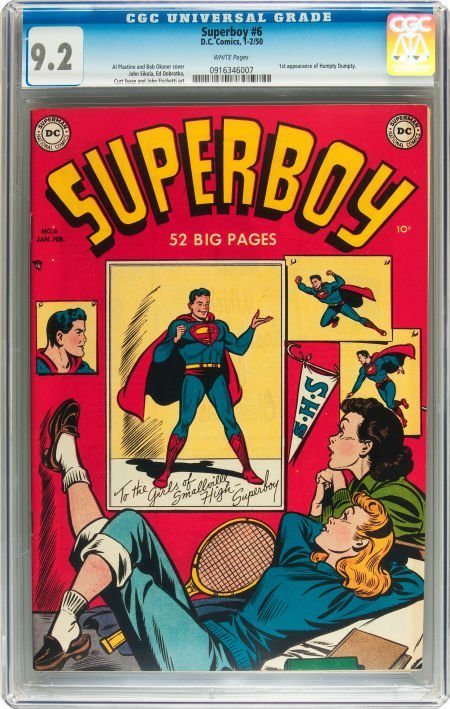 91227: Superboy #6 (DC, 1950) CGC NM- 9.2 White pages.