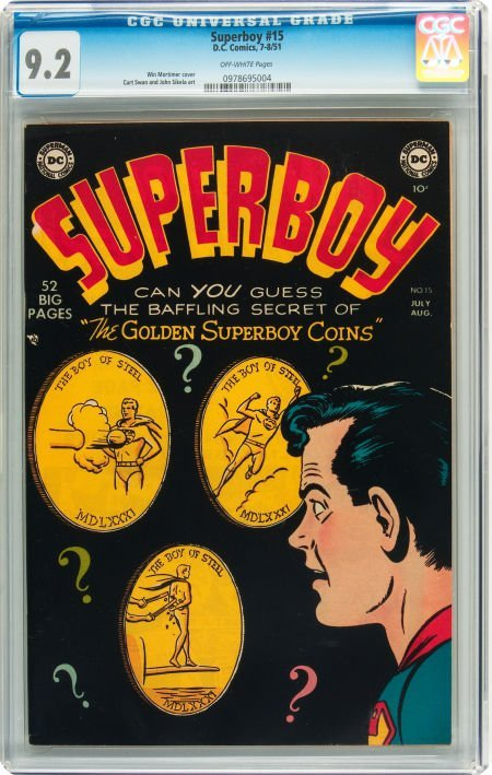 91229: Superboy #15 (DC, 1951) CGC NM- 9.2 Off-white pa