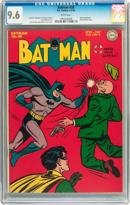 91063: Batman #28 (DC, 1945) CGC NM+ 9.6 White pages.