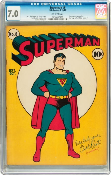 91231: Superman #6 (DC, 1940) CGC FN/VF 7.0 Off-white p