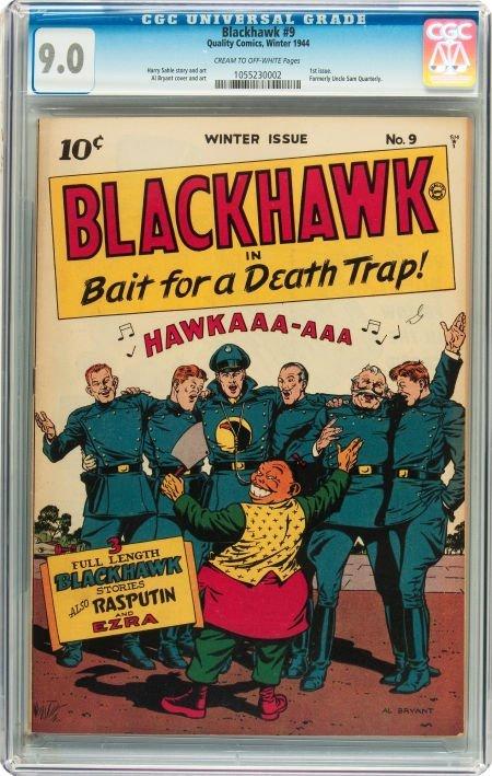 91066: Blackhawk #9 (Quality, 1944) CGC VF/NM 9.0 Cream