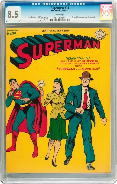 91235: Superman #30 (DC, 1944) CGC VF+ 8.5 White pages.