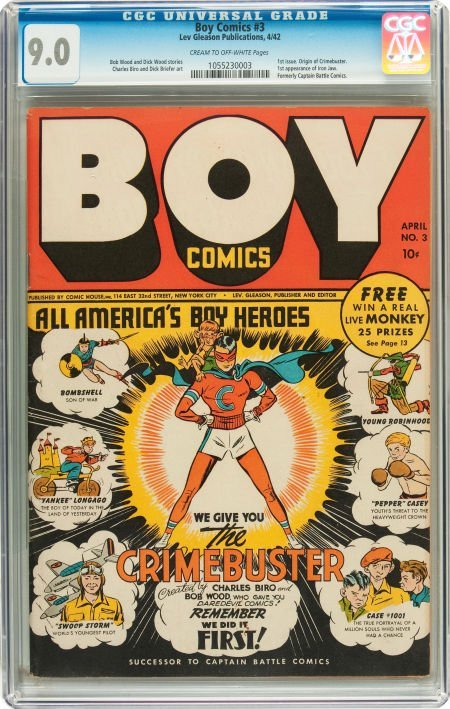 91068: Boy Comics #3 (Lev Gleason, 1942) CGC VF/NM 9.0