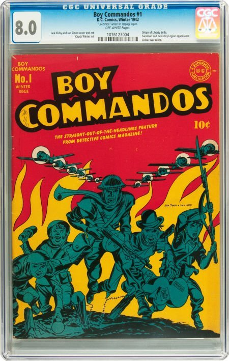 91069: Boy Commandos #1 (DC, 1942) CGC VF 8.0 Off-white