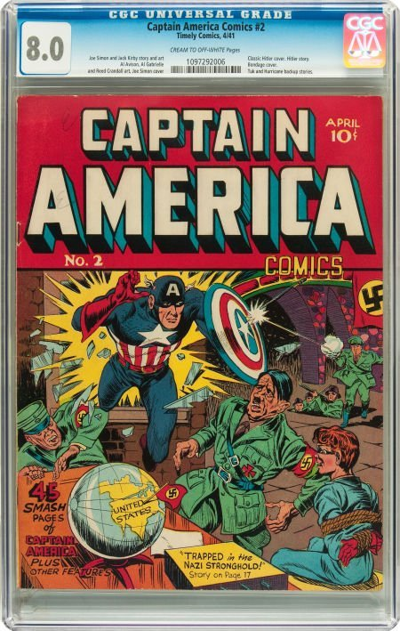 91071: Captain America Comics #2 (Timely, 1941) CGC VF