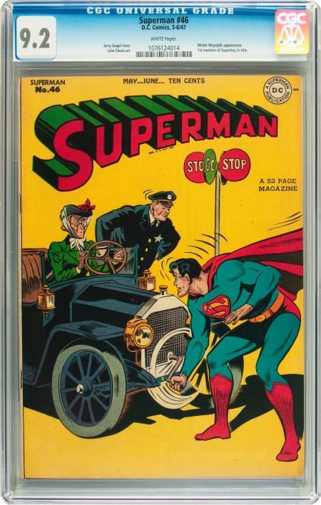 91239: Superman #46 (DC, 1947) CGC NM- 9.2 White pages.