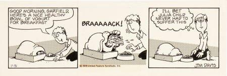 92094: Jim Davis Garfield Daily Comic Strip Original Ar